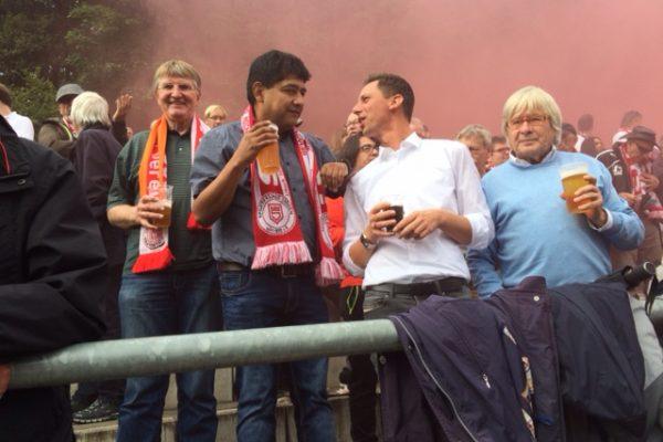 Detlef Rujanski, Adhemar Molzberger, Andreas Müller und Peter Eberlein beim Lokalderby des 1. FC Kaan-Marienborn gegen die Sportfreunde Siegen.