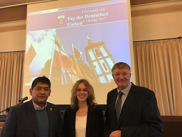 Adhemar Molzberger, Verena Böcking und Detlef Rujanski (v.l.n.r.) vertraten die Siegener SPD-Fraktion beim Festakt der Stadt Siegen zum Tag der Deutschen Einheit.